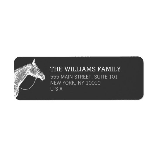 White Horse Equestrian Return Address Label