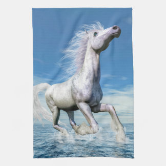 White horse freedom - 3D render Tea Towel