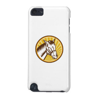White Horse Head Sunburst Circle Woodcut iPod Touch (5th Generation) Cases