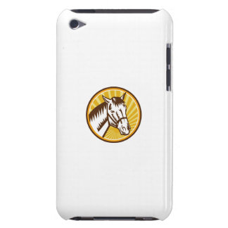 White Horse Head Sunburst Circle Woodcut iPod Touch Cover