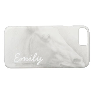 White Horse Head Vintage Drawing Custom Name iPhone 7 Case