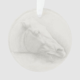 White Horse Head Vintage Portrait Drawing Ornament
