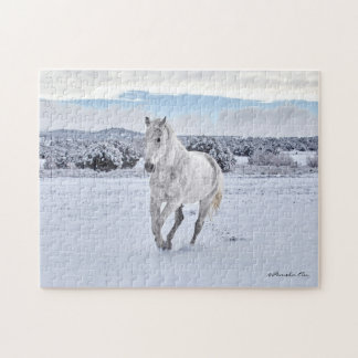 White Horse in Snow Puzzle