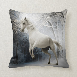 White horse in snowy forest throw pillow