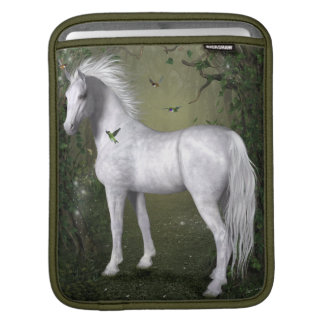 White Horse in the Woods with Hummingbirds Sleeve For iPads