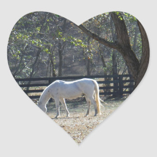 White Horse in trees Heart Stickers
