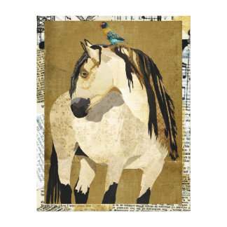 White Horse & Little Bird Canvas Canvas Print