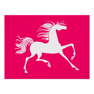 White Horse on Pink Poster