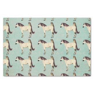 """White Horse & Owl Blue Tissue Paper 10"""" X 15"""" Tissue Paper"""