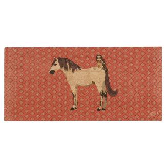 White Horse & Owl Wooden USB Drive Wood USB 2.0 Flash Drive
