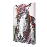 White Horse Pink Hair Art Design Canvas Print