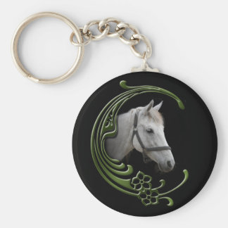 White Horse Portrait Floral Swirls Decor Basic Round Button Key Ring