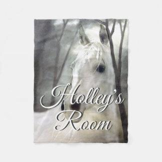 White Horse Portrait Painting Art Personalized Fleece Blanket