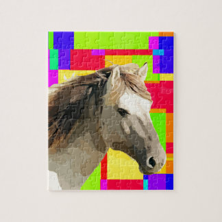 White Horse Portrait Painting Pop Art Jigsaw Puzzle