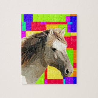White Horse Portrait Painting Pop Art Jigsaw Puzzles
