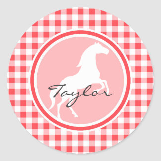 White Horse; Red and White Gingham Round Sticker