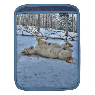 White Horse Rolling in Winter Snow Sleeve For iPads