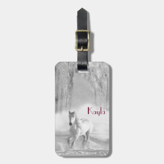White Horse Running in a Snowy Forest Luggage Tag