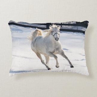 White Horse Running In Snow Decorative Cushion