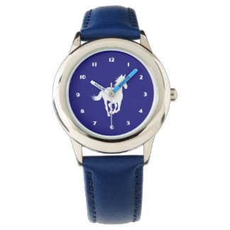 White Horse Silhouette on Purple Watch