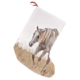 white horse small christmas stocking