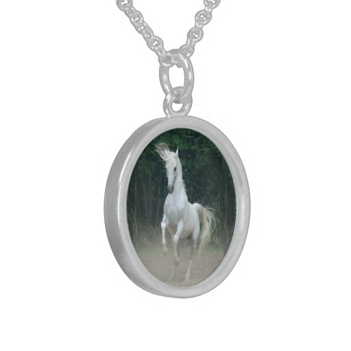 White Horse - Small Sterling Silver Round Necklace
