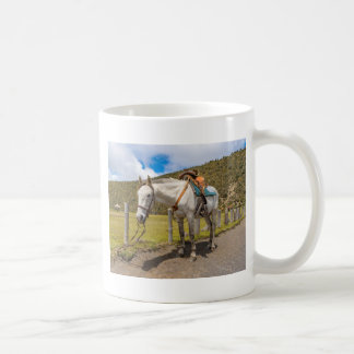 White Horse Tied Up at Cotopaxi National Park Coffee Mug