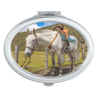 White Horse Tied Up at Cotopaxi National Park Compact Mirrors
