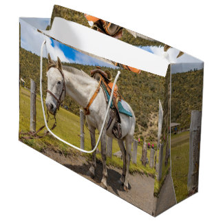 White Horse Tied Up at Cotopaxi National Park Large Gift Bag