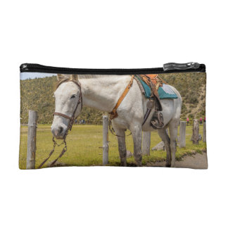 White Horse Tied Up at Cotopaxi National Park Makeup Bag