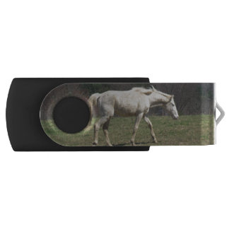 White Horse Walking USB swivel flash drive