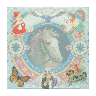 White Horse with circus storybook icons Canvas Print