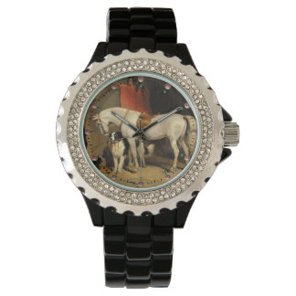 White Horse With Dogs Watch
