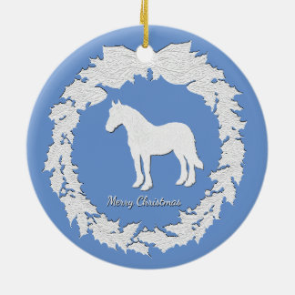 White Horse Wreath Personalize Color Text Ceramic Ornament