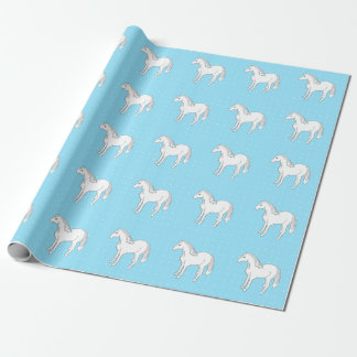 White Horses Blue & Polka Dots Wrapping Paper
