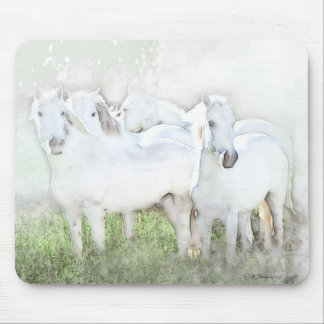 White Horses Mouse Pad Design