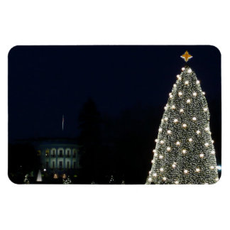 White House and National Tree Christmas Holiday DC Rectangular Photo Magnet