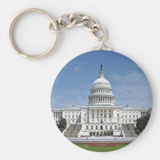 White House US Capitol Building Washington DC Basic Round Button Key Ring