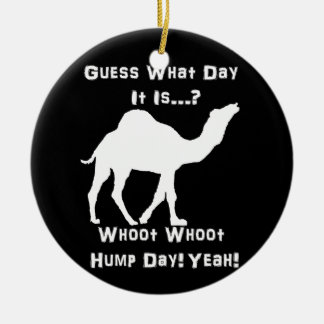 White Hump Day Camel Round Ceramic Decoration