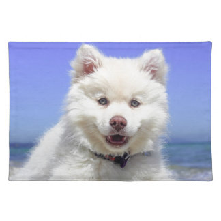 White Husky Puppy with Blue Eyes Placemat