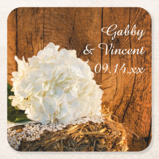 White Hydrangea and Barn Wood Country Wedding Square Paper Coaster