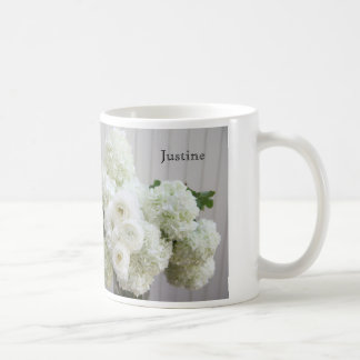 White hydrangea bouquet coffee mug