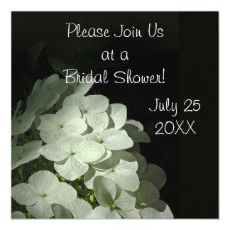 """White Hydrangea Bridal Shower Invitation 5.25"""" Square Invitation Card"""