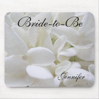 "White Hydrangea ""Bride-to-Be"" mousepad"