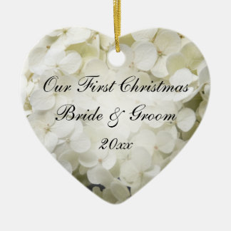 White Hydrangea First Christmas Together Ceramic Heart Decoration