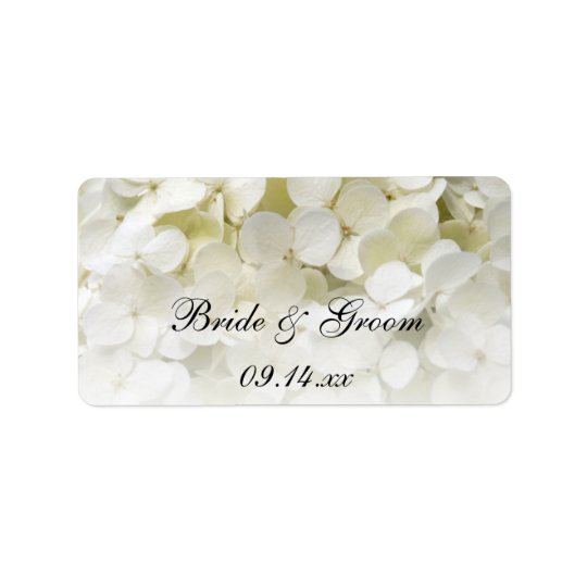 White Hydrangea Floral Wedding Favour Tags Address Label