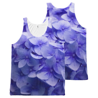 White Hydrangea flower background All-Over Print Singlet