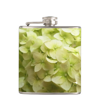 White Hydrangea flower background Hip Flask