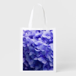 White Hydrangea flower background Reusable Grocery Bag