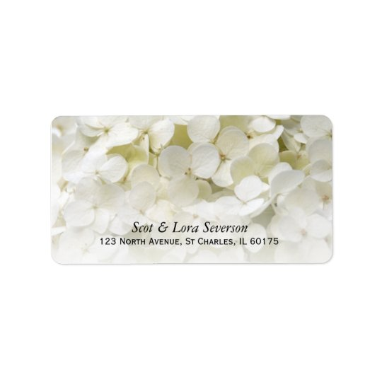 White Hydrangea Flower Return Address Address Label